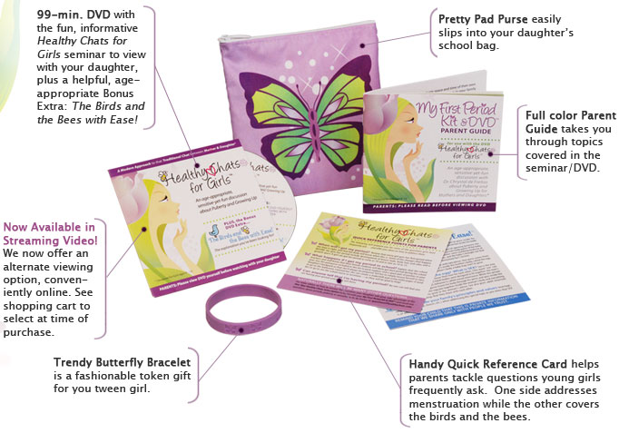 my first period kit and dvd - Healthy Chats for Tweens and Moms